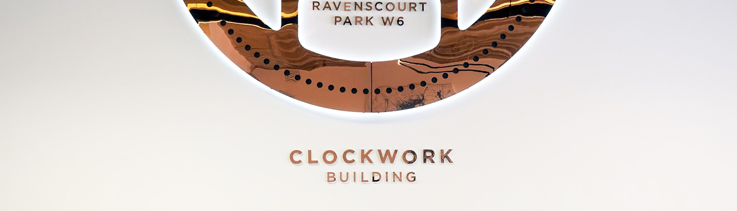 Clockwork Building Sign